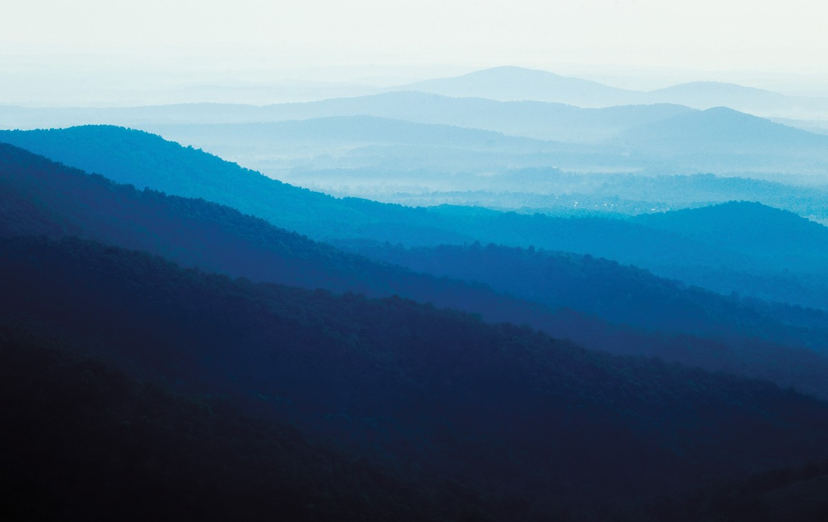 The Blue Ridge mountains to our west